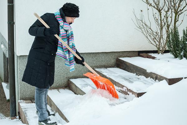 Shoveling snow at home