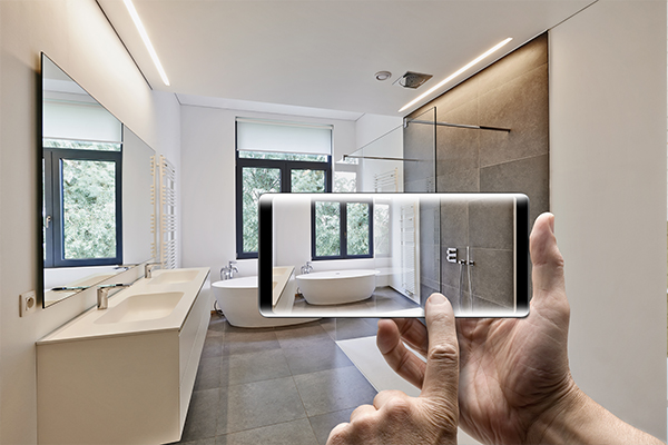 View of bathroom through eyes and phone