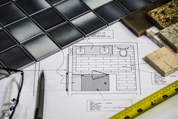 Bathroom floor plan and tiles
