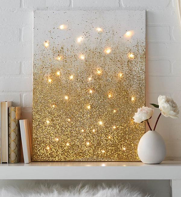 Canvas decor using string lights