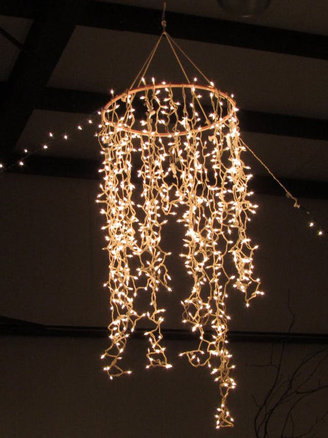 Chandelier with string lights