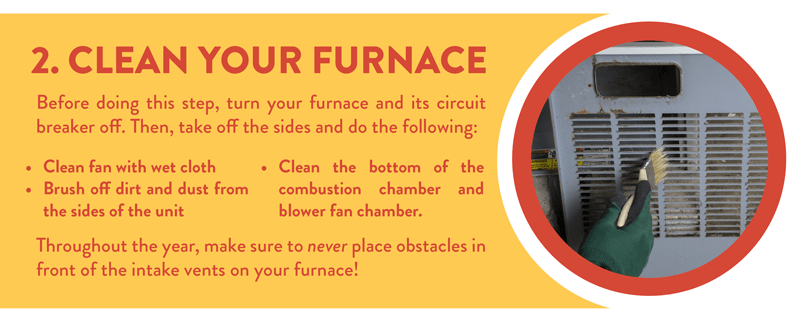 Clean your furnace before you turn it on for the cooler months.
