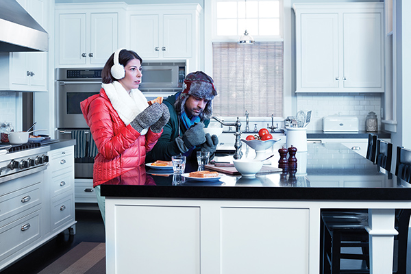Cold Couple in Kitchen