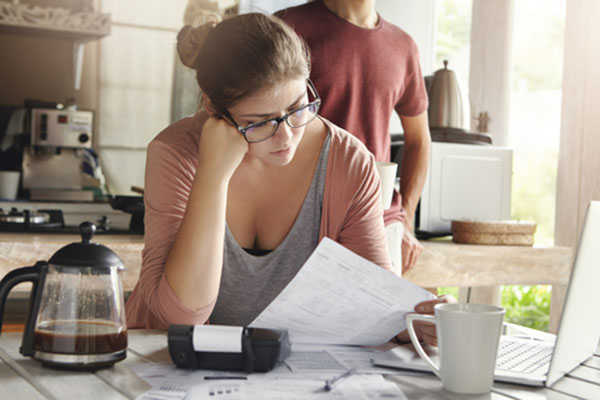 Woman getting finances in order