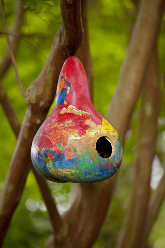 Painted gourd birdhouse
