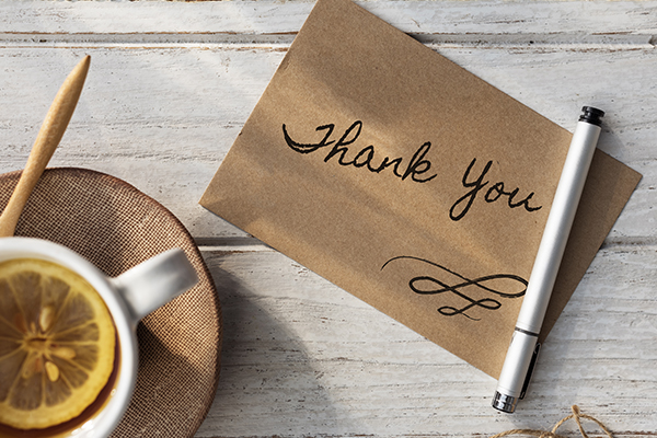 Thank you notes to clients