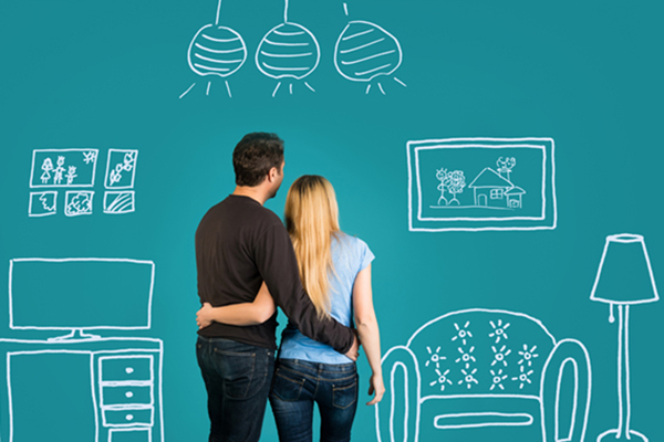 Couple Standing in Front of Animated Dining Room