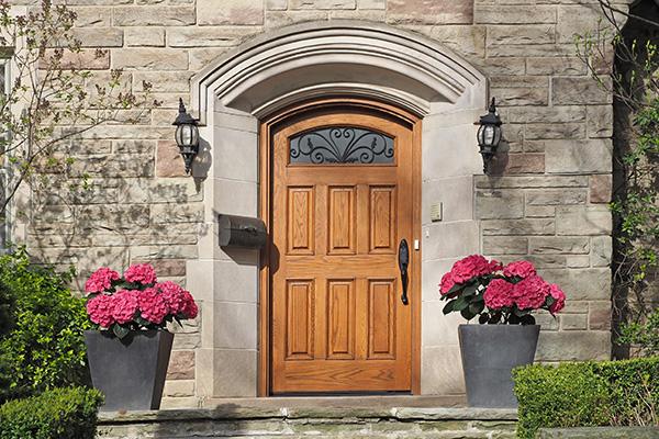 Wooden door on a home