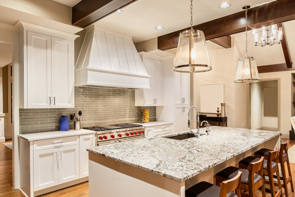 Kitchen layout range hood