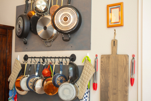 DIY kitchen mounting hooks for pots and pans