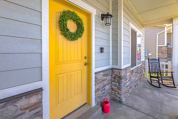 Colorful door on home for real estate listings