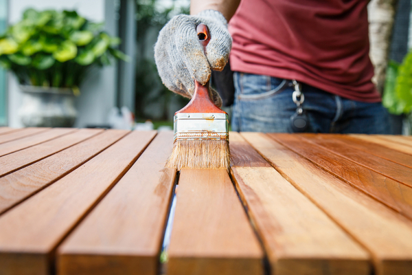 Painting deck home improvement project