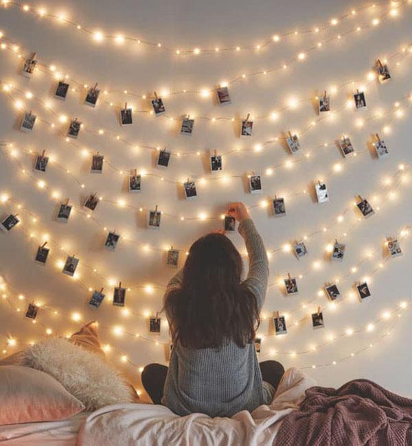 Photos using string lights