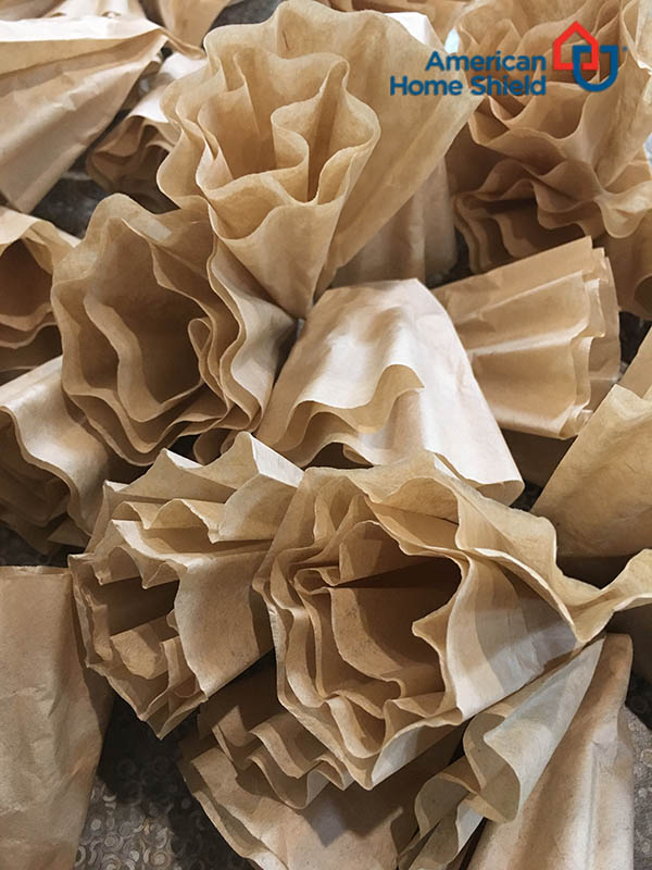Many rolled filters for wreath