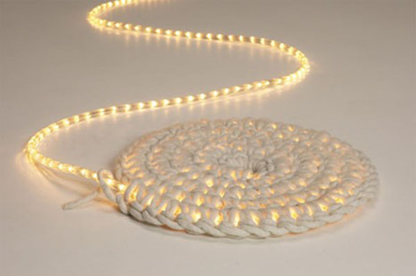 Rug made with string lights