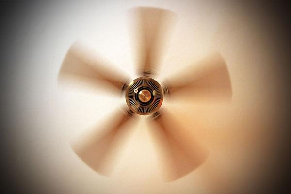 Ceiling fan in rotation