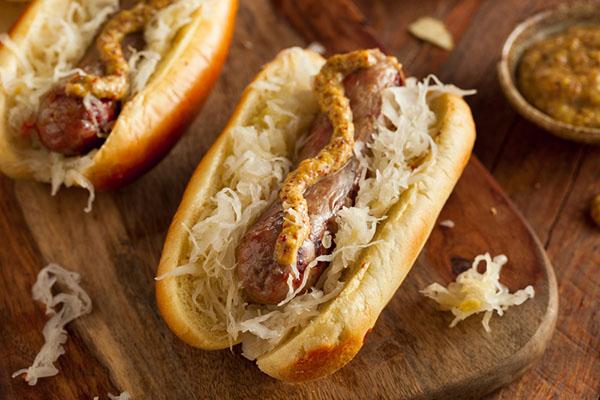 Sauerkraut hot dogs