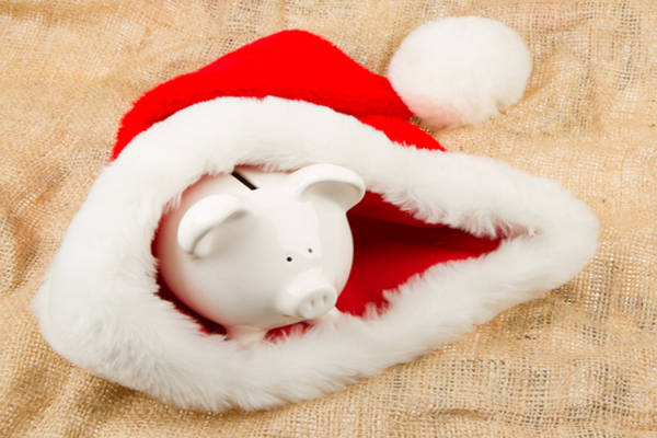 Piggybank in Santa's hat