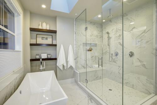 ceiling shower in large bathroom