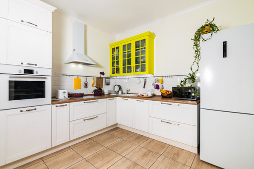Small kitchen with bold colors