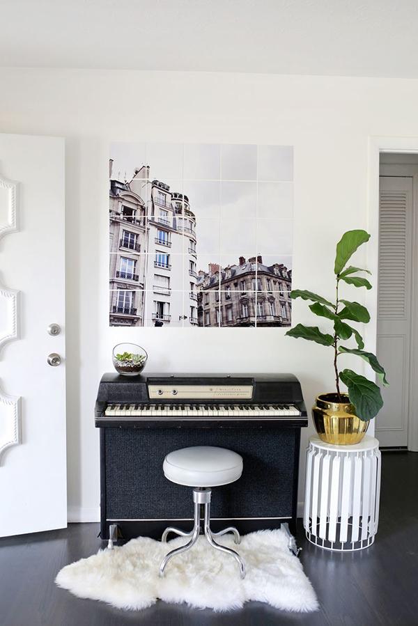 Tiled photo art on wall
