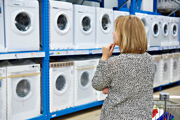 Woman making decision about a washer