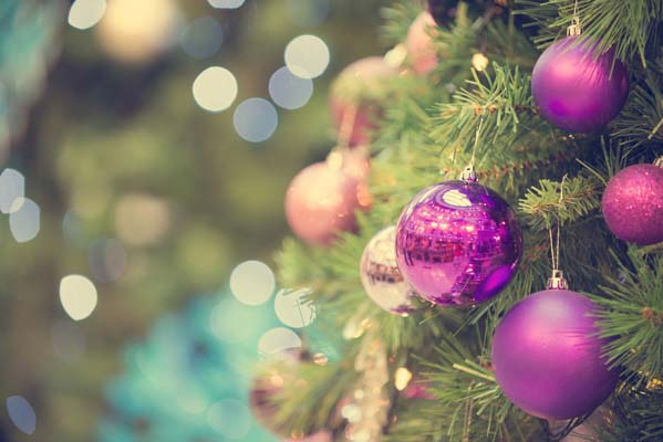 Tree with Purple Ornaments - Decorating on a Budget