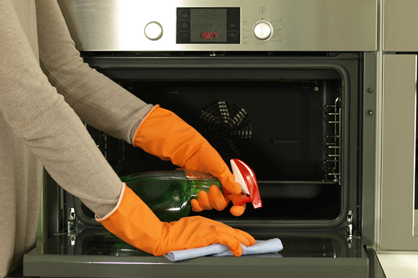 Someone Cleaning Oven