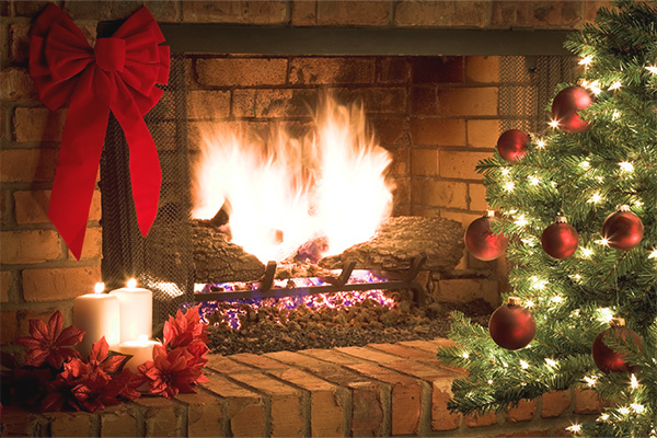 Fireplace and Christmas Tree During the Holidays