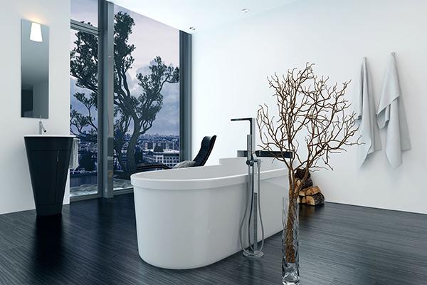 Minimalistic Bathroom Remodel - Bathtub Faces Window