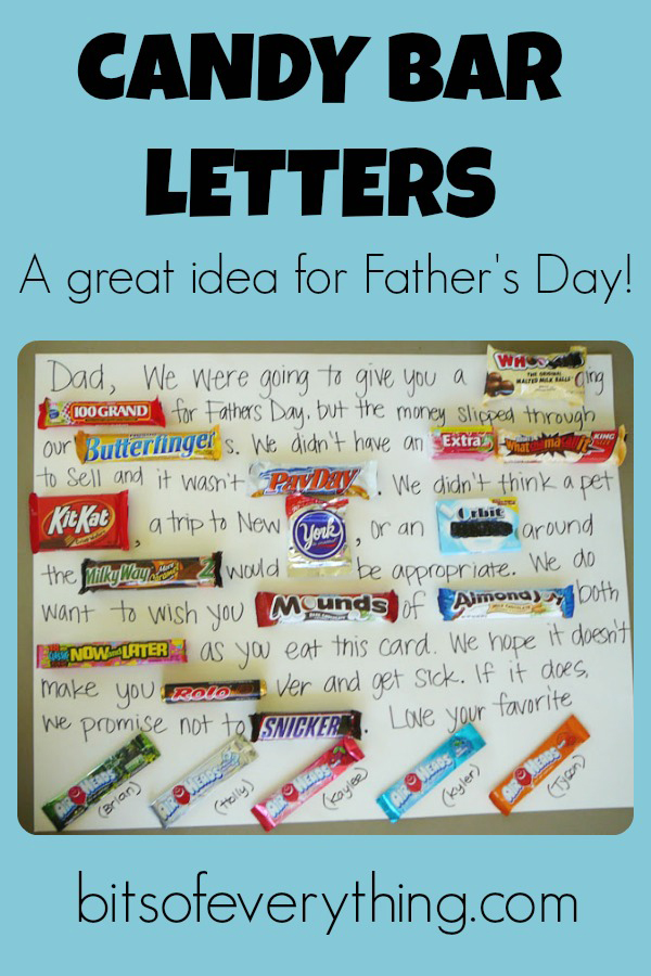 Candy bar letters