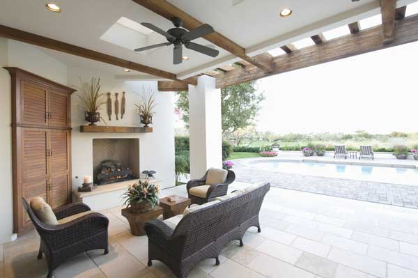 Outdoor and Pool-Side Living Room with Ceiling Fans