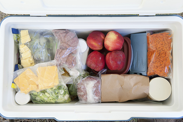 Cooler stocked with food