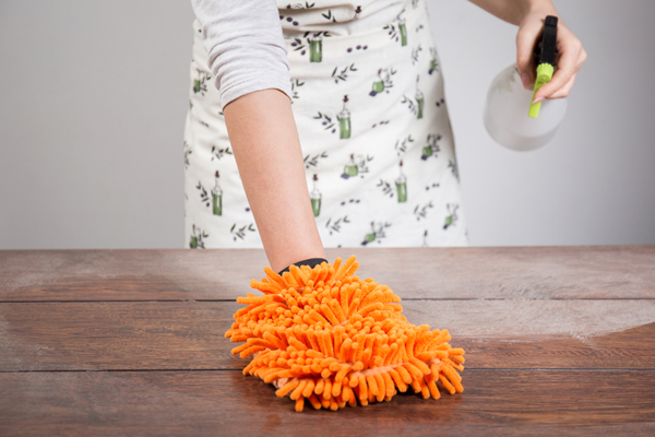 Dusting a table