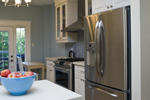 Kitchen with Double-Door Stainless Steel Refrigerator