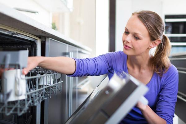 Woman Loads Dishwasher