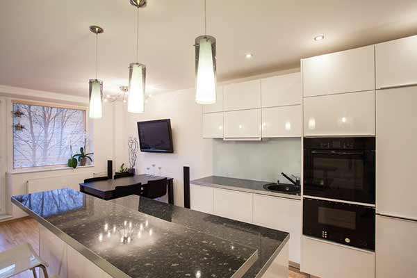 Kitchen with Beautiful Light Fixtures and Spotlights