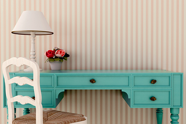 Teal Vanity and Chair with Horizontal Line Wallpaper